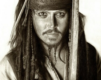 Johnny Depp as Captain Jack Sparrow -A3 Size Poster Print