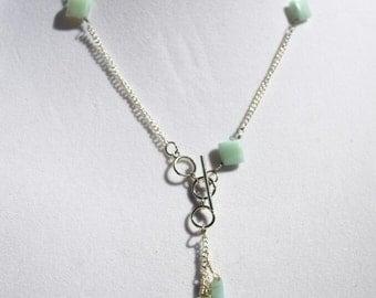 Lariat semi precious amazonite square beads and drops