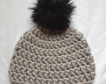 Crochet Beanie with Furry Pom // multiple colors and sizes