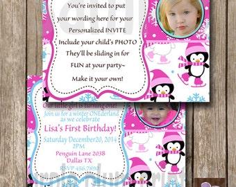 Invite- Penguin Invite - Personalized Photo Birthday Invite - Print at Home