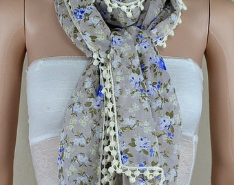Pure and fresh and small calico cotton scarf, thin cotton tassel scarf, shawl