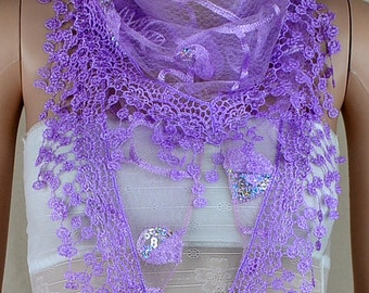 Purple lace triangle scarf, three-dimensional embroidery lace fringe scarf, paillette adornment scarf, shawl