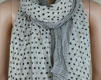 Rice white cotton scarf, wave point printing fold the scarf, collar