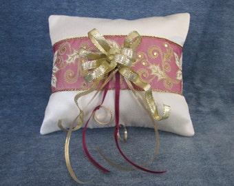 Christmas wedding ring pillow,ivory crepe,burgundy band,gold ribbon and trim