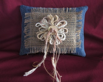 "Wedding ring pillow,denim,burlap,wood button,yarn flower,6""x8"""