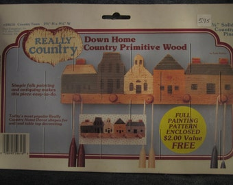 Really country primative wood,w/ pegs,folk art,craft,painting,project