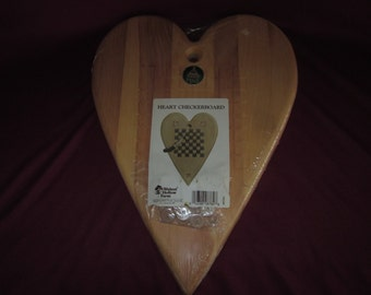 """Wood heart checkerboard w/ checkers,routed,unfinished,12""""x16"""",game"""