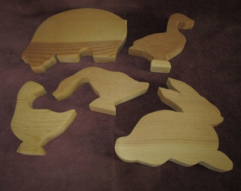 "5 wood animal cut outs,4""-7"", pig,ducks,rabbit,craft,tole painting,folk art"