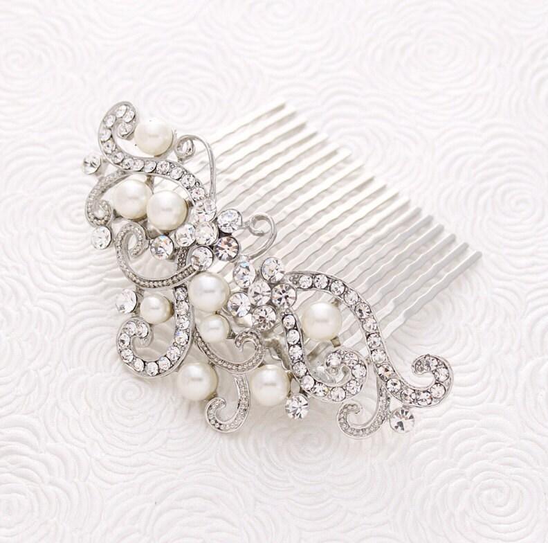 Crystal Pearl Wedding Hair Comb Prom Bridal Hairpiece Gatsby