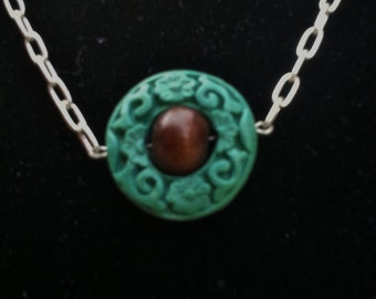 Silver Tone Wood and Cinnabar Necklace