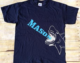 Personalized Shark Bite with Name t-shirt - Shark t-shirt - Custom Shark t-shirt