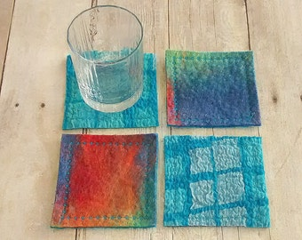 Set of four handmade wool nuno felted coasters