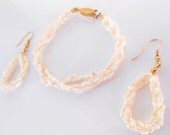 White freshwater pearl jewelry set.