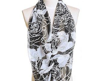 Womens Scarf, Black Scarf,  Floral Print Scarf, Fashion Scarf, Chiffon Scarf, Voile Scarf, Cotton Scarf, Womans Scarf