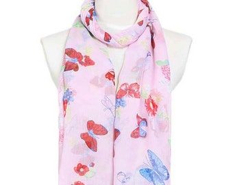 Womens Scarf, Butterfly Print Scarf, Floral Print Scarf, Pink Scarf, Floral Scarf, Fashion Scarf, Chiffon Scarf, Cotton Scarf