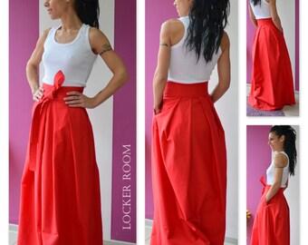 Adult Maxi Skirt, Maxi Skirt, Maxi Loose Skirt, Maxi Red Skirt, Bridal Maxi Skirt, Long Loose Skirt, Floor Length Skirt, Skirt With Pockets