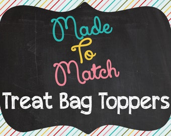 Printable Made To Match Treat Bag Toppers - Made To Match Any Invitation Design In The Shiny Sparkly Parties Shop