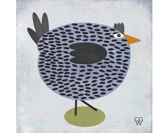 """Giclee Folk Art Print - """"Blue Hen"""""""