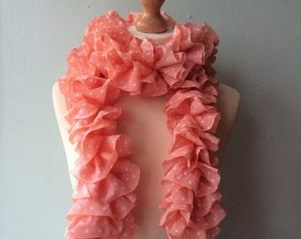 SUMMER SALE! WAS 17.00 - hand knitted peach polka dot fabric ruffle scarf