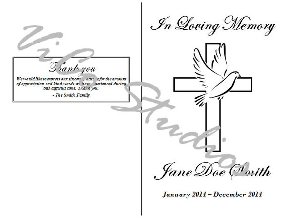 Easy Simple Printable Cross Dove Front Cover Template Floral