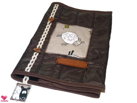 Make Adjustable Fabric Book Cover : Book cover in brown quilted fabric with sheep adjustable