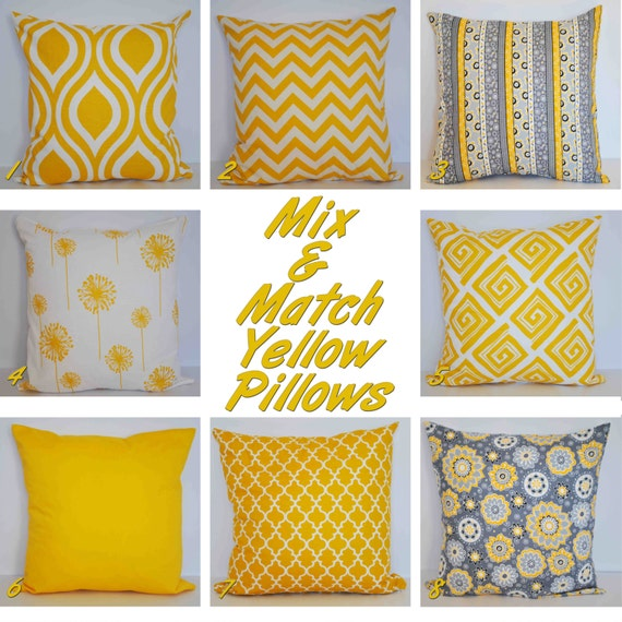 Mix and Match Yellow Throw Pillow Decorative Pillow by EpiDesigns