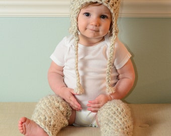 Chunky crochet baby or toddler leg warmers wool blend