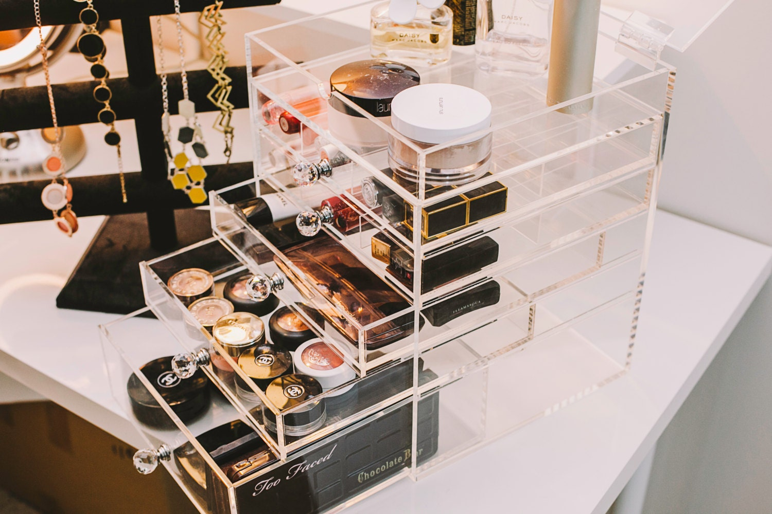 storia clear functional desktop acrylic makeup organizer with. Black Bedroom Furniture Sets. Home Design Ideas