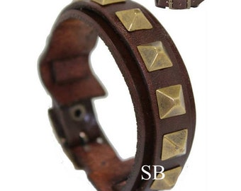PYRAMID genuine leather wristband first class leather cuff antique color studs leather bracelet wrist band