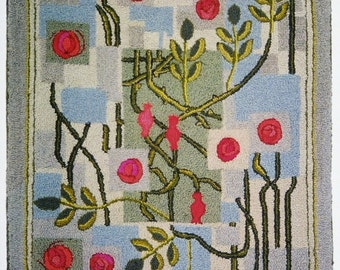 "Hand-hooked rug  ""Arts and Crafts Roses"""