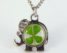 Real Four Leaf Clover Necklace Lucky Necklace Elephant Necklace Elephant Pendant Jewelry (with jewelry box)