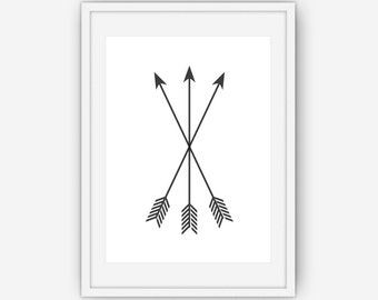 Black Arrow Print, Arrow Wall Art, Black and White Wall Art, Arrow Wall Prints, Black Arrows, Wall Art, Printable, Instant Download