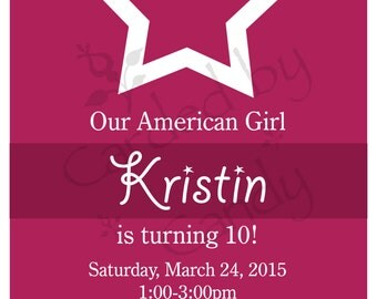 Our American Girl Birthday Party Invitation