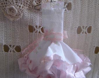 Shabby Chic Prom Dress Decoration, Rachel Ashwell Fabric, Silk ruffle around the bottom, Vintage Lace Bow.