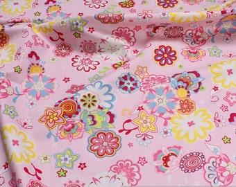Fabric cotton fine Twill pink flower set soft cotton fabric