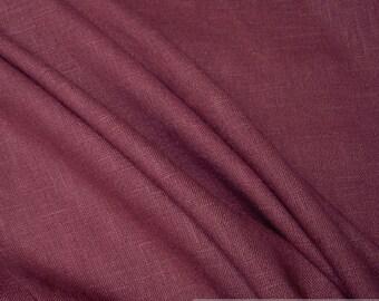 Fabric pure linen bordeaux dark red