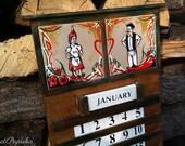 Hand Painted Wooden Calendar, one of a kind, Pinstripe, Hungarian Folk Art motives-RocketPaprika