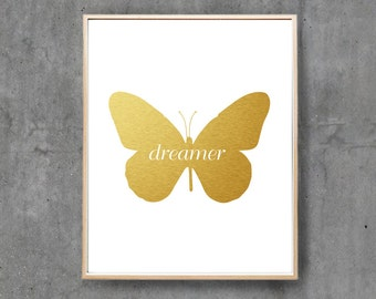 Butterfly Nursery Print, Digital Print, Printable Poster, Digital Art, Wall Decor, Dreamer / INSTANT DOWNLOAD