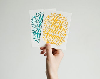 Letterpress Postcard-you look nice today SALE regular price 4,20 euro