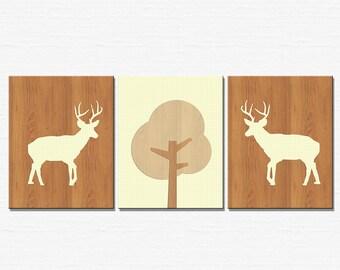Home Decor Wall Art, Deer Art Prints - Set of 3 8x10