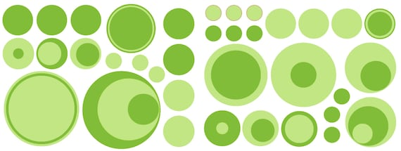 36 Green Dark and Light Vinyl Polka Dots Bedroom Wall Decals Stickers Teen Kids Baby Nursery Dorm Room Removable Custom Made Easy to Install