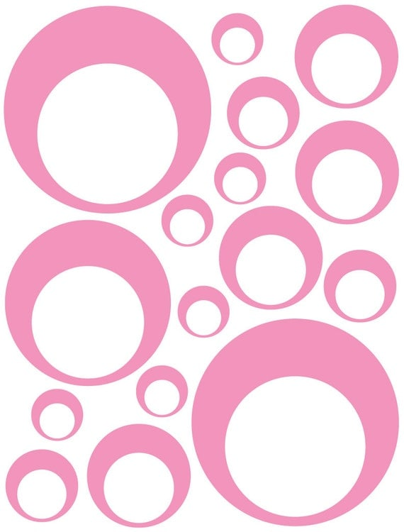 32 Soft Pink Vinyl Circle in a Circle Bubble Dots Bedroom Wall Decals Stickers Teen Baby Dorm Room Removable Custom Made Easy to Install