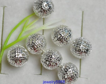 100 pcs Antique Bronze copper silver gold Filigree Beads Spacer Hollow Beads 10mm