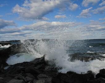 Crashing Waves on the Maine shorline photographic print