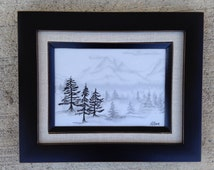 Trees and Mountain Vellum drawing, framed art, black and white, home decor