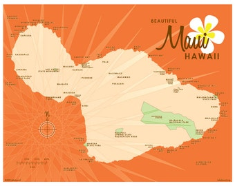 Maui Map Print (Orange)