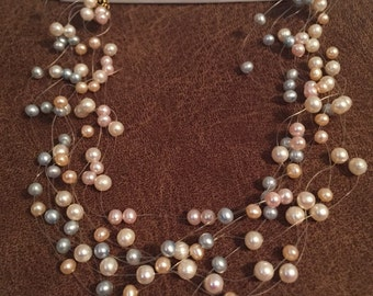 SALE 20% off Floating Freshwater Pearl Necklace