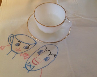 Vintage Anchor Hocking Tea Cup and Saucer, Milk Glass/Gold Trim!