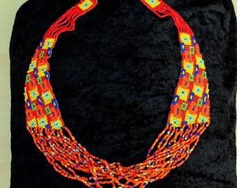 Bead Necklace - Handmade Loom Woven Necklace -  Abstract Orange Necklace - OOAK - Tribal Jewellery