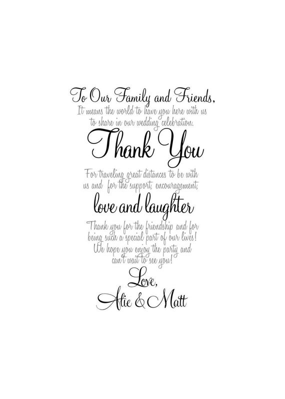 Wedding Thank You Wedding Welcome Letter Thank You by MSPrintables